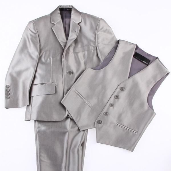 Ferrecci Kids Shiny Grey Three Piece Two-Button Tuxedo