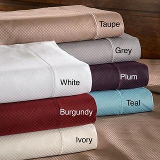 Superior 800 Thread Count Micro Checkered Split King Cotton Blend Sheet Set