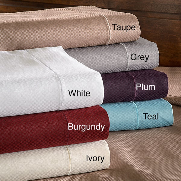 Superior Micro-checkered 800 Thread Count Split King-size Sheet Set