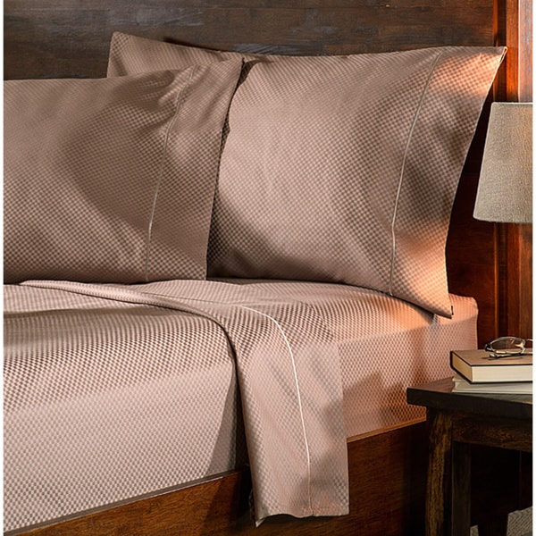 Superior 800 Thread Count Micro Checkered Split King Cotton Blend Sheet Set