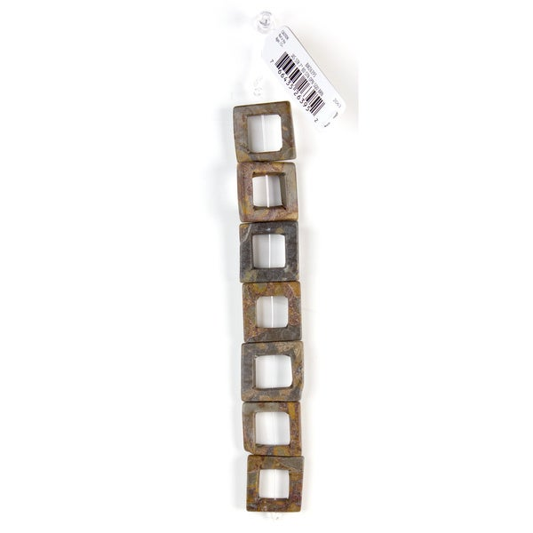 DCWV Bead Strand 7-inch Stone Open Square Brown Bead Set