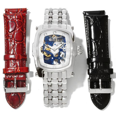 Invicta Men's Slightly Blemished 'Lupah' Mechanical Leather Watch Set