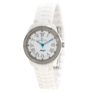 Invicta Women's BM IN0726 Slightly Blemished 'Classique' Diamond Accented White Ceramic Watch