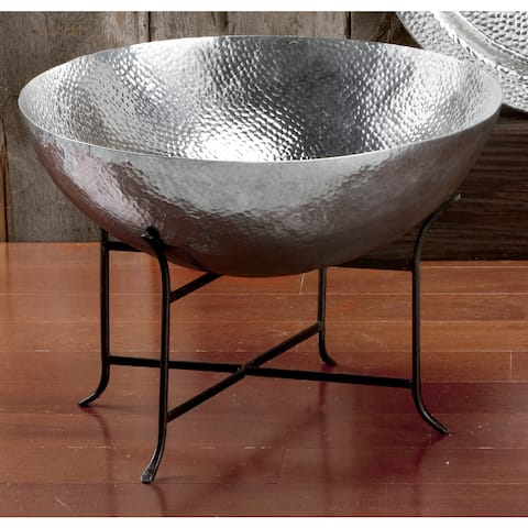Extra-Large 2-ft Hammered Aluminum Decorative Bowl and Black Metal Stand