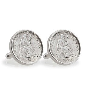 American Coin Treasures Seated Liberty Silver Dime Sterling Silver Cuff Links