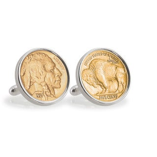 American Coin Treasures Gold-Plated Buffalo Nickel Sterling Silver Cuff Links