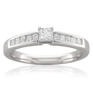 Montebello 14k White Gold 1/2ct TDW Princess Cut Diamond Ring