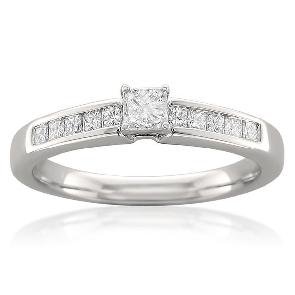 Montebello 14k White Gold 1/2ct TDW Princess Cut Diamond Ring