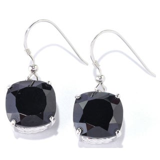 Sterling Silver cushion Black Spinel Earrings