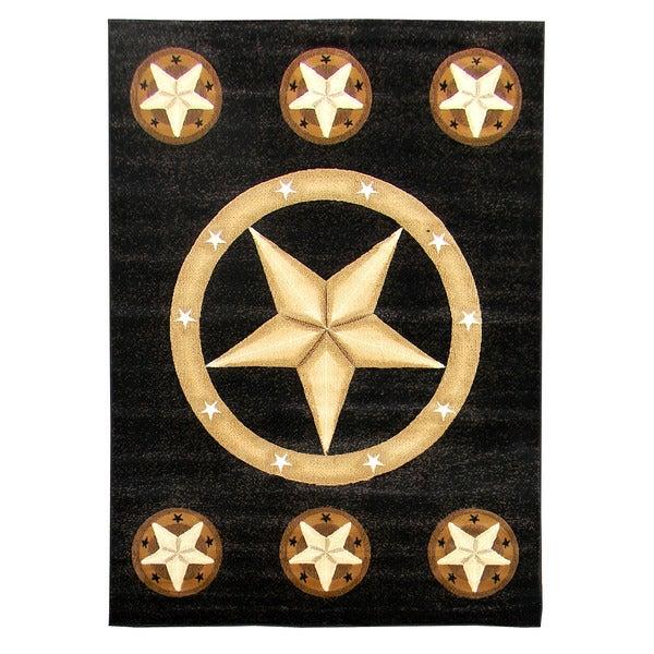 Skinz Design Star Black Area Rug (5' x 7') - 5' x 7'