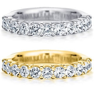 Amore 14k White or Yellow Gold 1ct TDW Machine-set Diamond Wedding Band