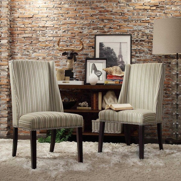 INSPIRE Q Geneva Spring Green Stripe Wingback Hostess Chairs (Set of 2)