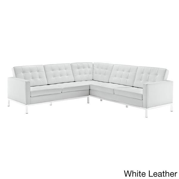 Shop Leather L-Shaped Sectional Sofa - Free Shipping Today ...