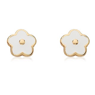 Little Miss Twin Stars 14k Goldplated Children's Twin Stars Frosted Flowers Earrings