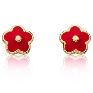 Goldplated Little Miss Twin Stars Red Frosted Flower Stud Earrings