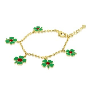 Junior Jewels Childrens Enamel 4 Leaf Clover Bracelet