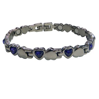 Magnetic Bracelet with Amethyst Hearts