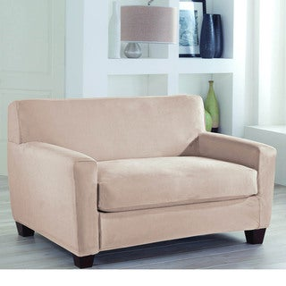 Tailor Fit Suede Stretch Fit 2-Piece Loveseat Slipcover