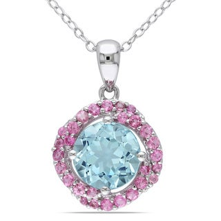 Miadora Sterling Silver Sky Blue Topaz and Pink Tourmaline Halo Necklace