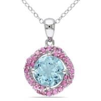 Miadora Sterling Silver Sky Blue Topaz and Pink Tourmaline Halo Necklace