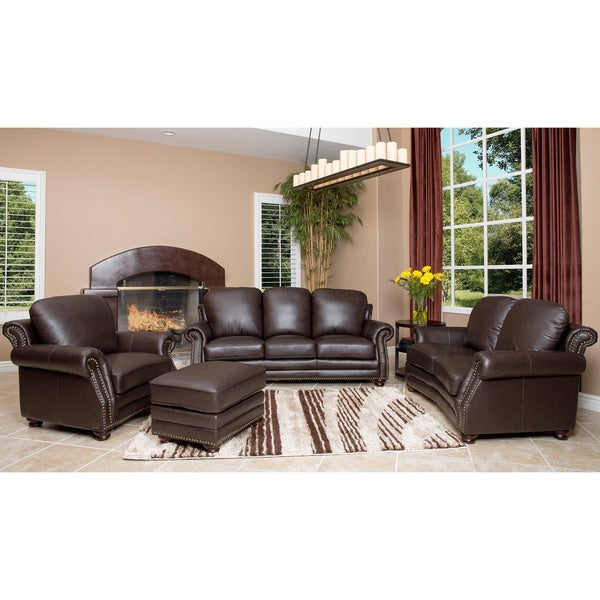 Abbyson Living Maxwell Top Grain Leather 4 Piece Living Room Furniture Set Free Shipping Today