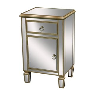 Mirrored and Gold Trim Finish Accent Chest