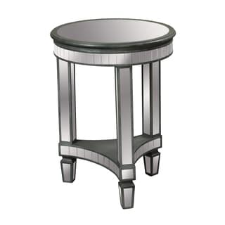 Mirrored and Hand Painted Vintage Silver Finish Round Accent Table