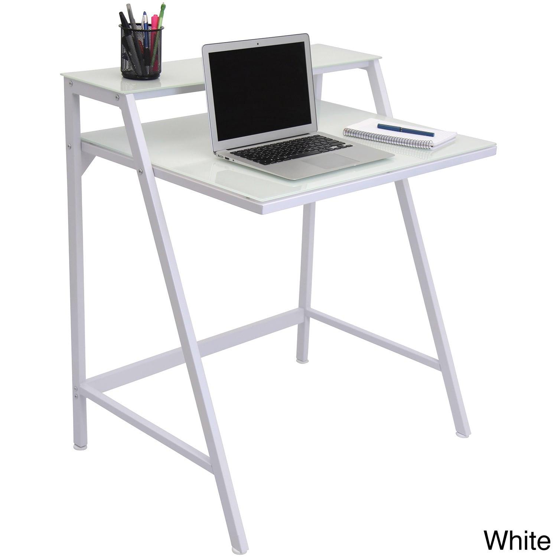 Lumisource 2-Tier Modern Computer Desk / Workstation (White)