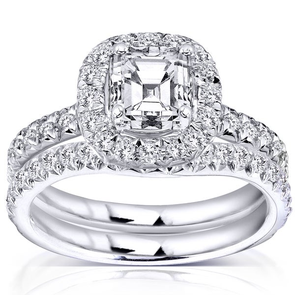 Annello by Kobelli 14k Gold 1 3/4 ct TDW Asscher Diamond Halo Bridal Set (H-I, I1-I2)
