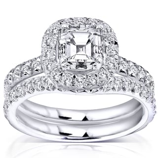 Annello by Kobelli 14k Gold 1 3/4 ct TDW Asscher Diamond Halo Bridal Set