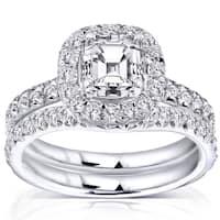 Annello by Kobelli 14k Gold 1 3/4 ct TDW Asscher Diamond Halo Bridal Set