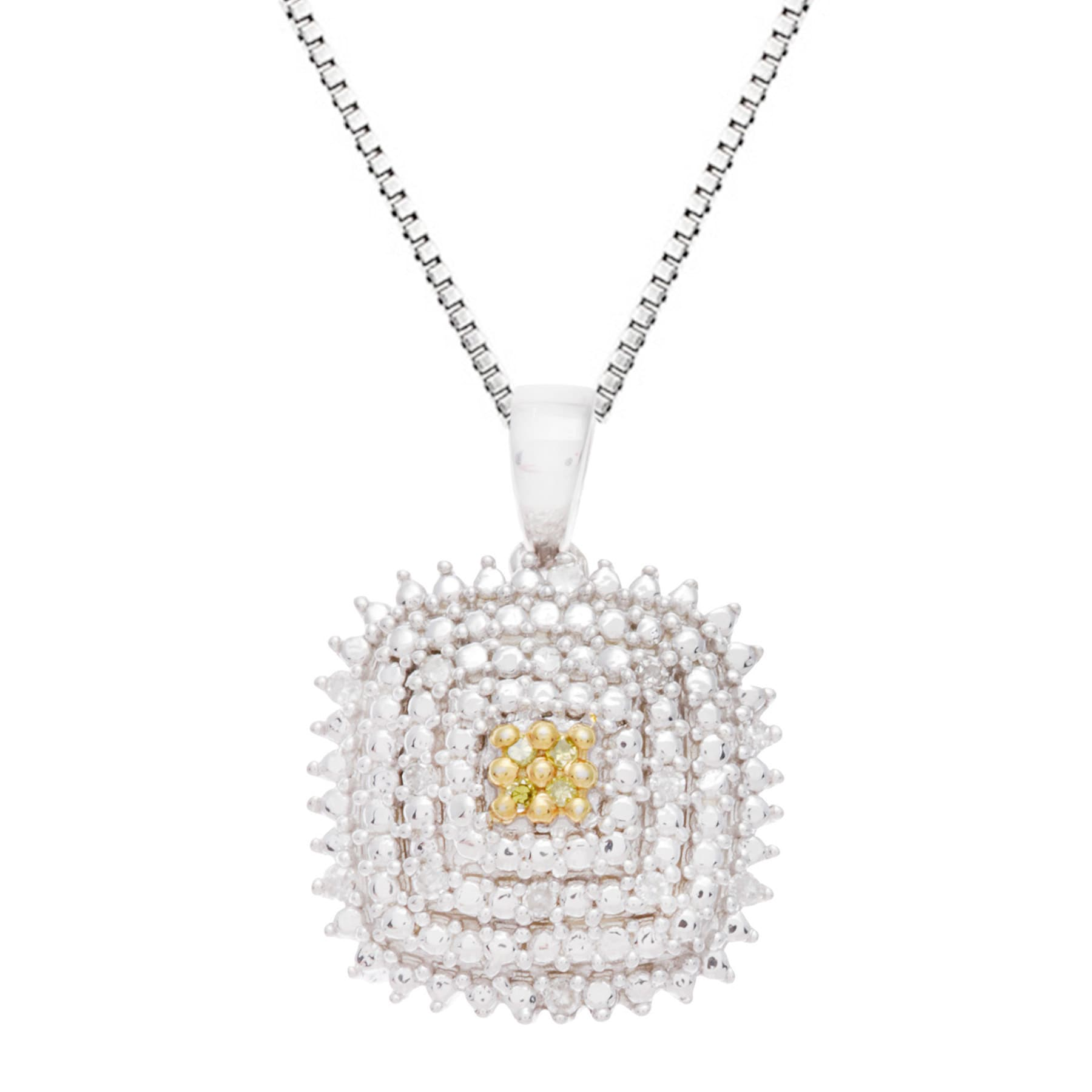 Sterling Silver Yellow And White Diamond Accent Square Pendant