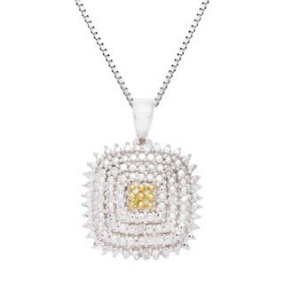 Sterling Silver Yellow and White Diamond Accent Square Pendant Necklace