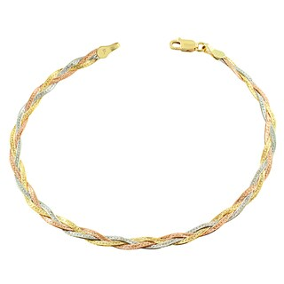 Fremada 10k Tricolor Gold Braided Herringbone Bracelet (7.5-inch)