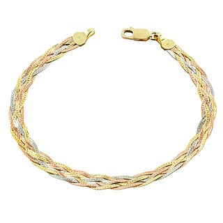 Fremada 10 Karat Tricolor Gold 5-strand Braided Herringbone Bracelet (7.5 inch)