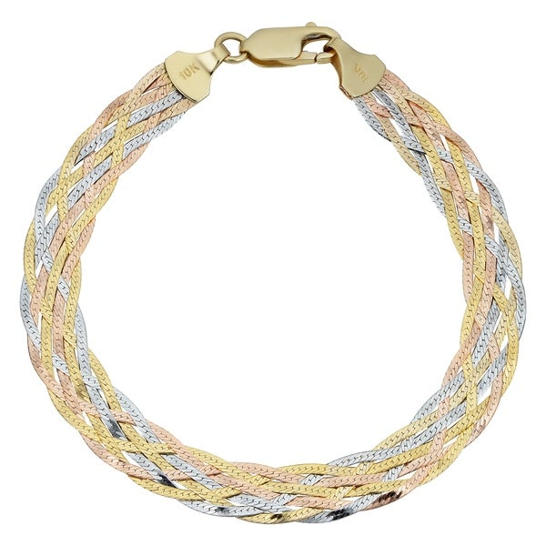 6386e0947b8a3 Shop Fremada 10k Tricolor Gold 7-strand Braided Herringbone Bracelet ...