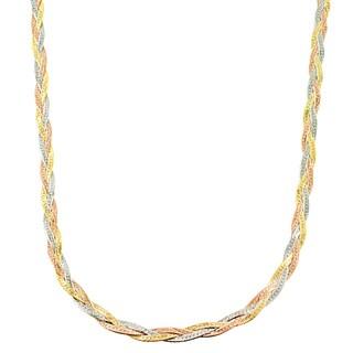 Fremada 10k Tricolor Gold 3.4-mm Braided Herringbone Necklace (18-inch)