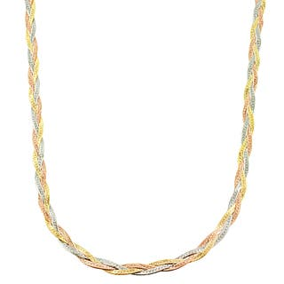 necklace valentino views chain tri color gold accent inches more double