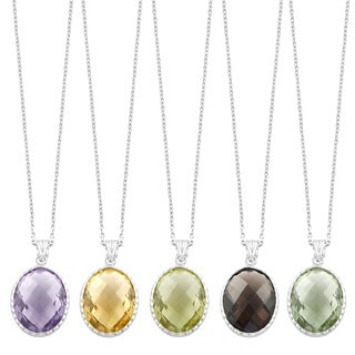 Fremada Sterling Silver Oval Gemstone Necklace (Lemon Quartz, Pink Amethyst, Green Amethyst, Smokey Quartz, or Citrine)