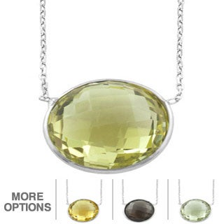 Fremada Sterling Silver Round Gemstone Necklace (Smokey Quartz, Green Amethyst, Lemon Quartz or Citrine)