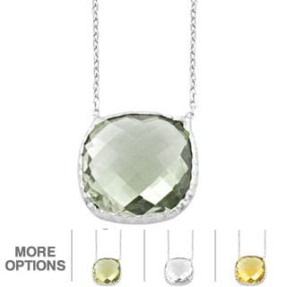 Fremada Sterling Silver Square Gemstone Necklace (Smokey Quartz, Lemon Quartz, Green Amethyst, Citrine or Clear Quartz)