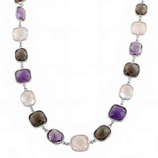 Fremada Sterling Silver Alternate Amethyst, Smokey Quartz and Rose Quartz Necklace (18 inch)