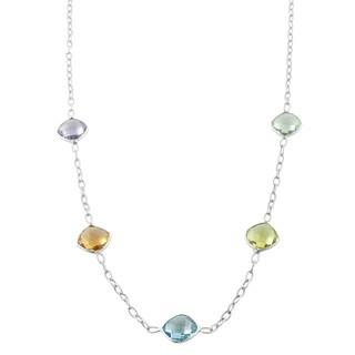 Fremada Sterling Silver Square Gemstone Station Necklace (18 inch)