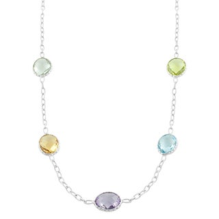 Fremada Sterling Silver Oval Multiple Gemstones Station Necklace (18 inch)