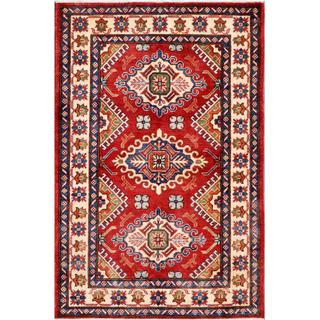 Herat Oriental Afghan Hand-knotted Kazak Red/ Ivory Wool Rug (3'11 x 6')