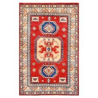 Herat Oriental Afghan Hand-knotted Kazak Orange/ Ivory Wool Rug (3'11 x 6'1)