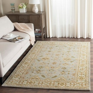 Safavieh Handmade Classic Light Blue/ Ivory Wool Rug (2' x 3')