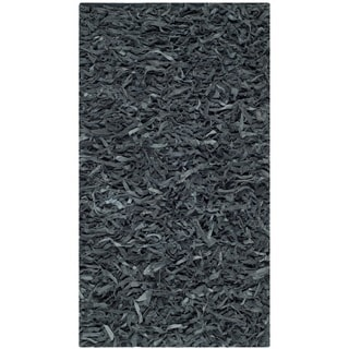 Safavieh Handmade Metro Modern Grey Leather Decorative Shag Runner (2'3 x 4')