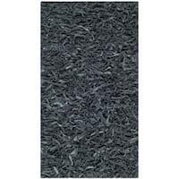 "Safavieh Handmade Metro Modern Grey Leather Decorative Shag Runner (2'3 x 4') - 2'3"" x 4'"