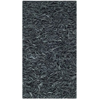 "Safavieh Handmade Metro Modern Grey Leather Decorative Shag Runner - 2'3"" x 4'"